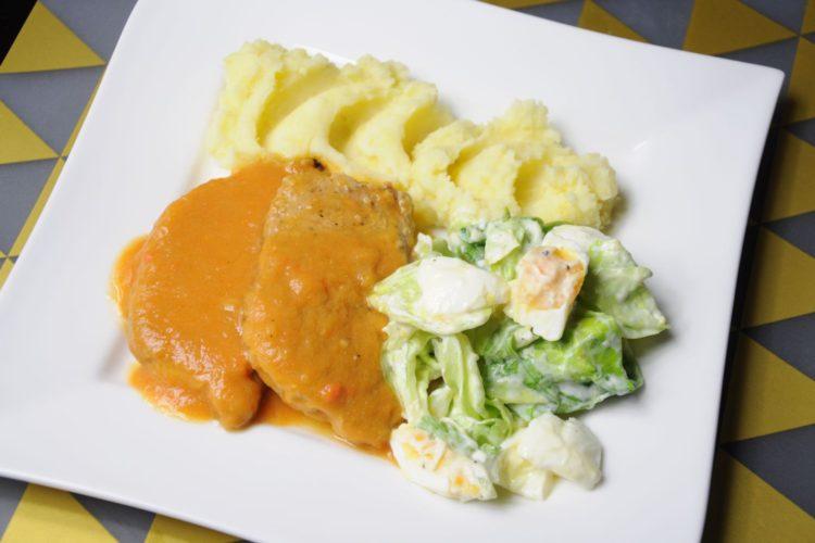 Schab w sosie własnym z warzywami